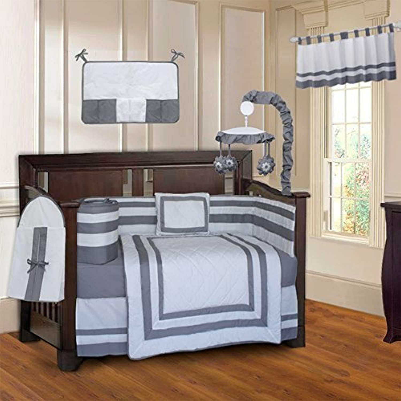 BabyFad Modern Quilted Gray 10 Piece Baby Crib Bedding Set [並行輸入品]