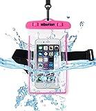 Ribution 防水ケース スマホ用防水ポーチ iPhone7 7S 7Splusなどの6インチ以下全機種対応 防水保護等級 IPX8 ネックストラップ アームバンド 付き お風呂 温泉 アウトドア 潜水 プール 釣り 水泳 砂浜など適用 ピンク