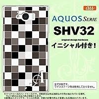 SHV32 スマホケース AQUOS SERIE カバー アクオス セリエ イニシャル スクエア グレー nk-shv32-1016ini F
