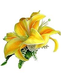 [ムームーママ]MuuMuuMama カサブランカ ヘアクリップ 黄色 ロケラニ?カラー:白