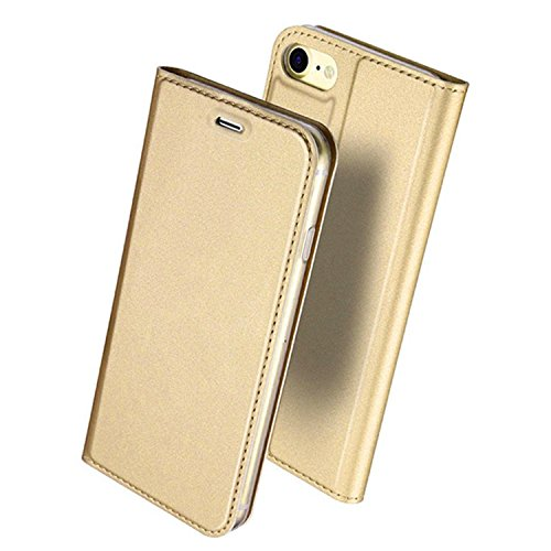 iPhone6 Plus ケース iPhone6s Plus ケース 手帳型 薄型 軽量 耐衝撃 耐摩擦 高級PUレザー 財布型 カード収納 マグネット スタンド機能 付 き スマホケース アイフォンケース 人気 おしゃれ ケース (iPhone6 Plus/6s Plus, ゴールド)