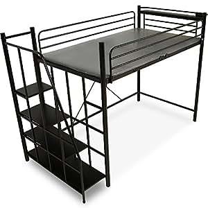 ロフトベッド 階段 宮 コンセント付 軋み防止マット 極太パイプ パイプベッド セミダブル ブラック