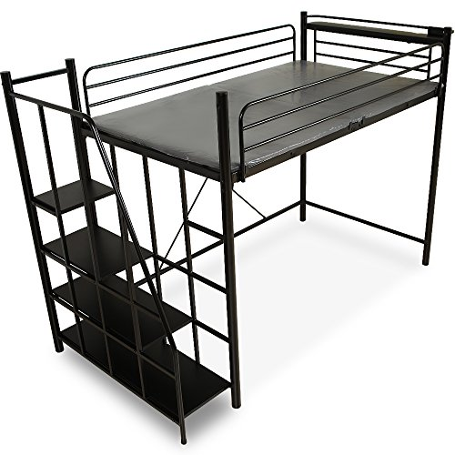 LOWYA (ロウヤ) ロフトベッド 階段 宮 コンセント付 軋み防止マット 極太パイプ パイプベッド セミダブル ブラック おしゃれ