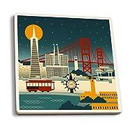 サンフランシスコ、カリフォルニア–レトロスカイライン( no text ) 4 Coaster Set LANT-57175-CT