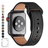 LOVLEOP バンド コンパチブル Apple Watch バンド 42mm 44mm,トップレザー交換用ストラップ コンパチブル アップルウォッチ バンド ,のために適したiWatch Series 5/4/3/2/1(42mm 44mm, ブラック+ブラックコネクタ)