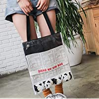 Has Many Uses Letter Printed Transparent Canvas Bag Large Capacity Shoulder Tote Double Canvas Tote Bag Black