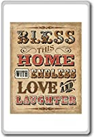 Bless This Home With Endless Love And Laughter - Motivational Quotes Fridge Magnet - ?????????