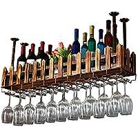 QING MEI 上下逆さまの木製のワインラッククリエイティブ吊りワイングラスホルダーワイングラスラックバー装飾フレーム (サイズ さいず : 80x20cm)