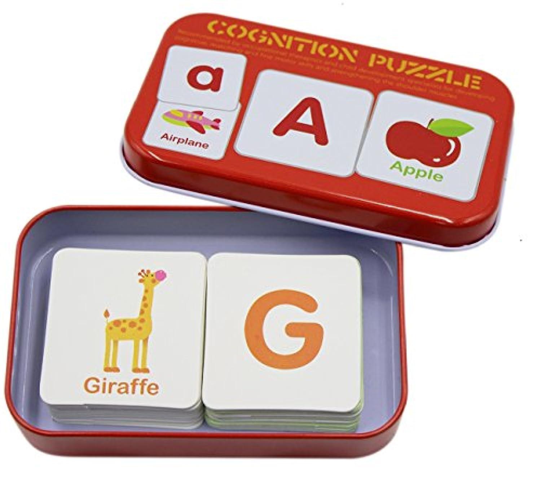 babyprice 32個anti-tearフラッシュカードLearningアルファベットパズルカード、一致するパズルジグソー図形認識機能早期教育学習おもちゃwith Mentalストレージボックス ONE 43225-3399