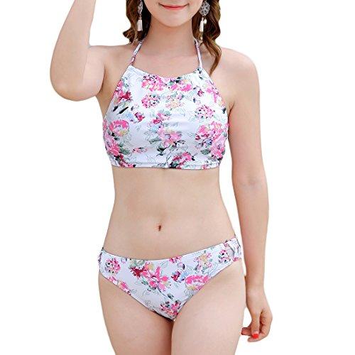 レディース ビキニ 3点セット おおきいサイズがあり ピンク 花柄 ローズプリント ラッシュガード付き おしゃれスイムウェア 温泉 水泳 海水浴 かわいい セクシー 1823 (04, L)