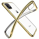 iPhone 11 ケース クリア 透明 tpu シリコン メッキ加工 スリム 薄型 6.1インチ スマホケース 耐衝撃 ストラップホール 黄変防止 一体型 人気 携帯カバー ゴールド