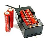 AC充電器 + 2本セット 3000mAh 18650 3.7V 充電式リチウムイオン電池 戦術懐中電灯 電池,充電池 保護回路付き
