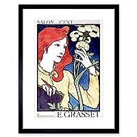 Art Eugene Grasset Art Nouveau Paris France Vintage Ad Framed Wall Art Print ヌーボーパリフランスビンテージ壁