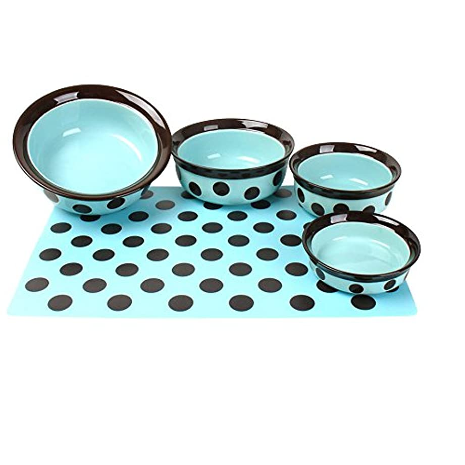 (ローズウッド) Rosewood ペット用 ストーンウェア 水玉 ペット用皿 エサ入れ ペット用ボウル (6インチ) (ティール/ブラック)