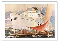 オーシャンライナーSS Lurline そして、ハワイアンアウトリガーセーリングカヌー (Wa'a) - マトソンライン - ビンテージなハワイの旅行パンフレット c.1930s - 美しいポスターアート