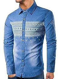 Sodossny-JP メンズスリムフィットロングスリーブデニムシャツファッションプリントボタンダウンシャツ