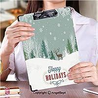 フォルダーボードフォルダーライティングボード 学校・ご家庭・オフィスなど場所冬の森のシーンとトナカイの休日の背景 (1個)