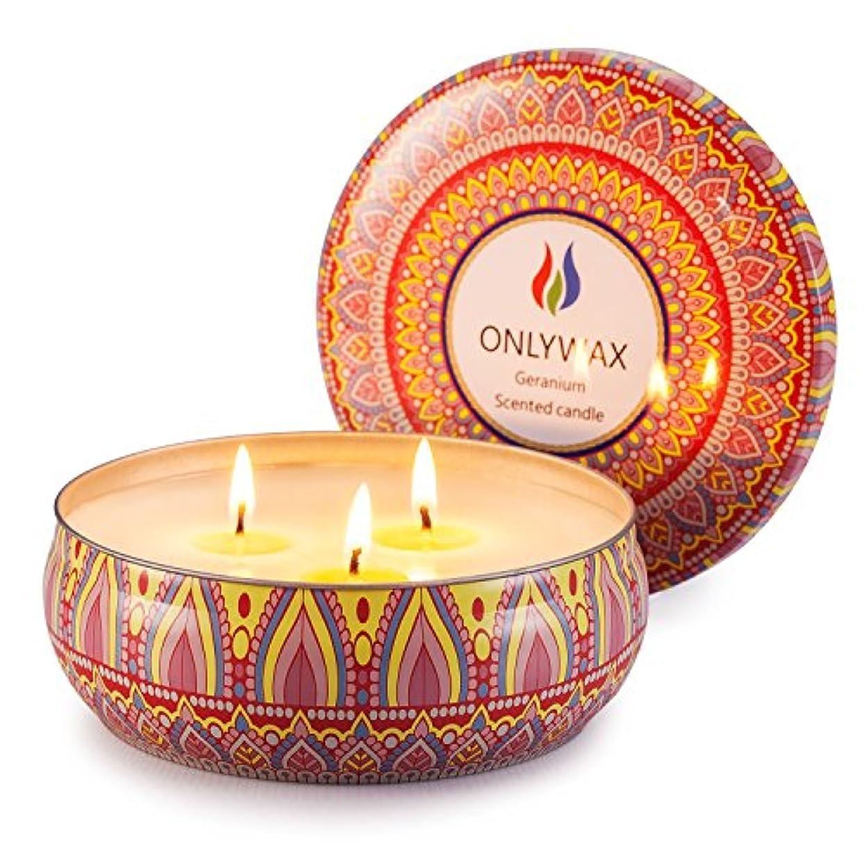 レコーダーレイア不忠Scented Candles Soy Wax 3 Wick Tin 70 Hour Burn,Essential Oils-for Stress Relief and Relaxation,Outdoor and Indoor