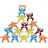 Chone木製スタッキングゲームMonkeys、建物ブロックバランスゲーム子供教育誕生日ギフトおもちゃ
