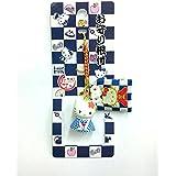 Hello Kitty ハローキティ☆市松キティ【紺着物】お守り根付ストラップ 市松シリーズ 日本限定品