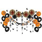 Easy Joy ハロウィーンパーティーデコレーションキット ペーパーファン スケルトン ゴーストガーランド ハッピーハロウィーンバナー ゴーストプリントラテックスバルーン ブラックオレンジ オールインワン パック