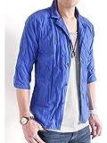 (オークランド) Oakland 7分袖 しわ加工 綿麻 シャツ ジャケット テーラード 七分袖 テイラード ジャケット デザイン サマー メンズ
