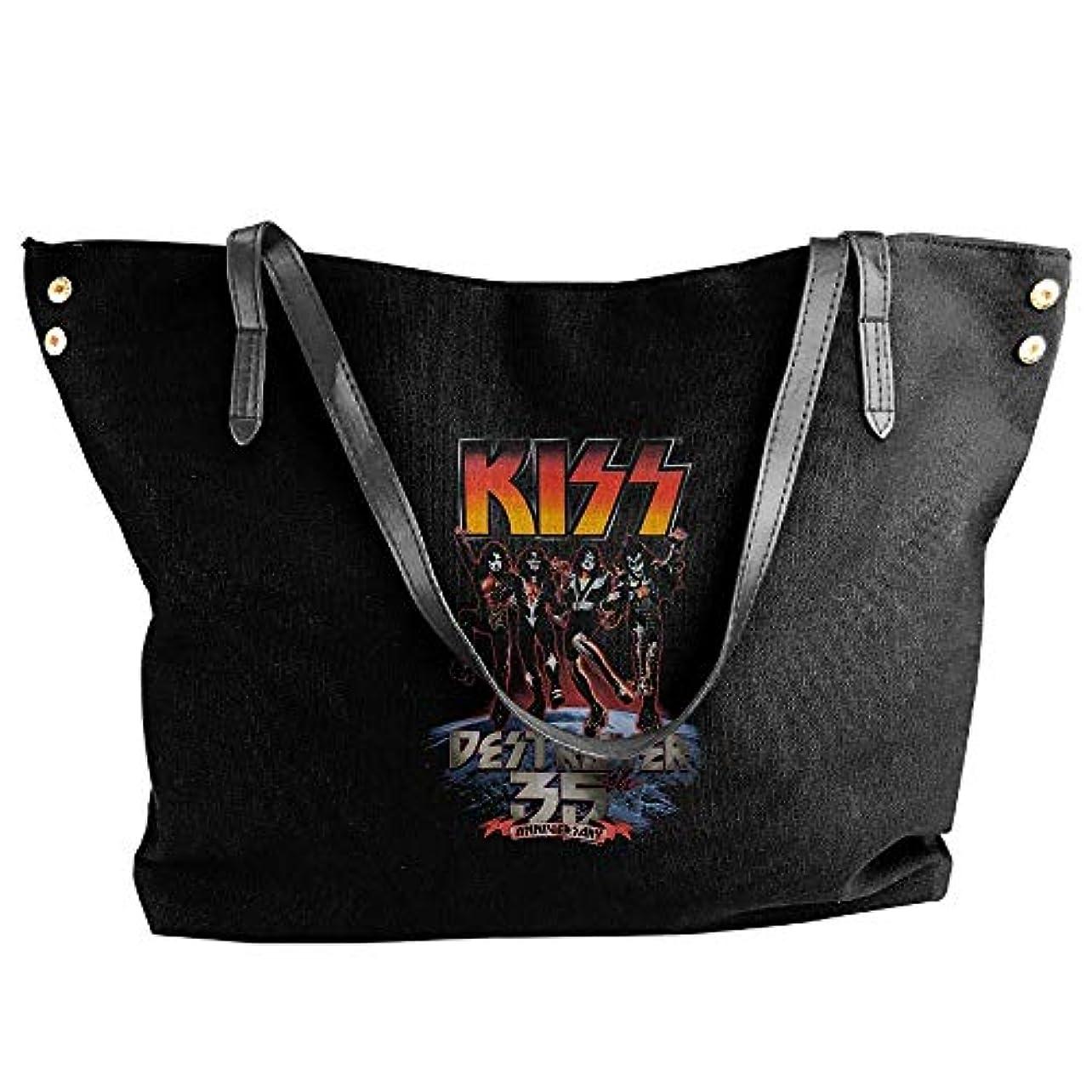 瞑想的ベール絶縁する2019最新レディースバッグ ファッション若い女の子ストリートショッピングキャンバスのショルダーバッグ KISS Band 人気のバッグ 大容量 リュック