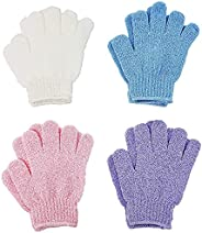 4 Pairs Exfoliating Gloves, Body Scrub Wash Mitts for Bath Shower, Luxury Spa Exfoliation Accessories for Men