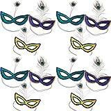 HAPPY DEALS 12スパンコール マルディグラマスク 羽付き マルディグラフォトブース小道具 マルディグラのデコレーション