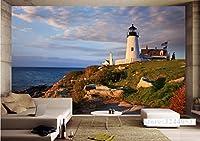 Mbwlkj 3D カスタマイズ壁画風景米国メイン州の海岸の灯台の壁紙の壁画調査テレビ背景リビングキッチンベッドルーム-350Cmx245Cm
