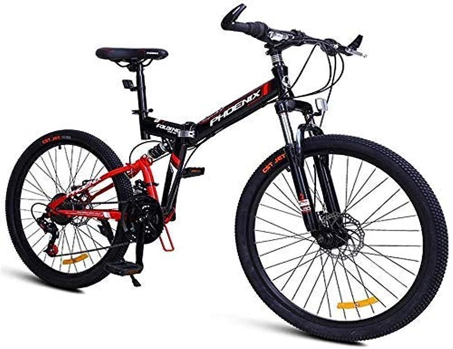 コンパイル黒人九24スピード衝撃吸収マウンテンバイク、折りたたみ高炭素鋼フレームマウンテントレイルバイクデュアルサスペンションマウンテン自転車26インチ