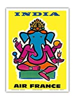 インド - エアフランス - ヒンドゥー教の主ガネーシャ - ビンテージな航空会社のポスター によって作成された ジャン・カルリュ c.1959 - アートポスター - 23cm x 31cm