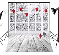 LB 背景布 1.8×2.7m/6×9ft 布地 写真撮影 バックペーパー 人物/商品撮影 背景シート 撮影スタジオ用 アイロンかけ可 折り畳み可 洗濯可能 バレンタインデー主題 ハート柄