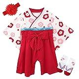 BECOS ベビー 袴風 ロンパース カバーオール 宮参り 花飾りと靴下付き(レッド, 6-9ヶ月)