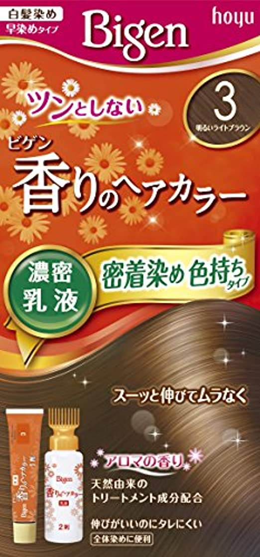 にぎやか理解する嫌いホーユー ビゲン香りのヘアカラー乳液3 (明るいライトブラウン) 1剤40g+2剤60mL [医薬部外品]