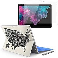 Surface pro6 pro2017 pro4 専用スキンシール ガラスフィルム セット 液晶保護 フィルム ステッカー アクセサリー 保護 アメリカ 地図 外国 014307
