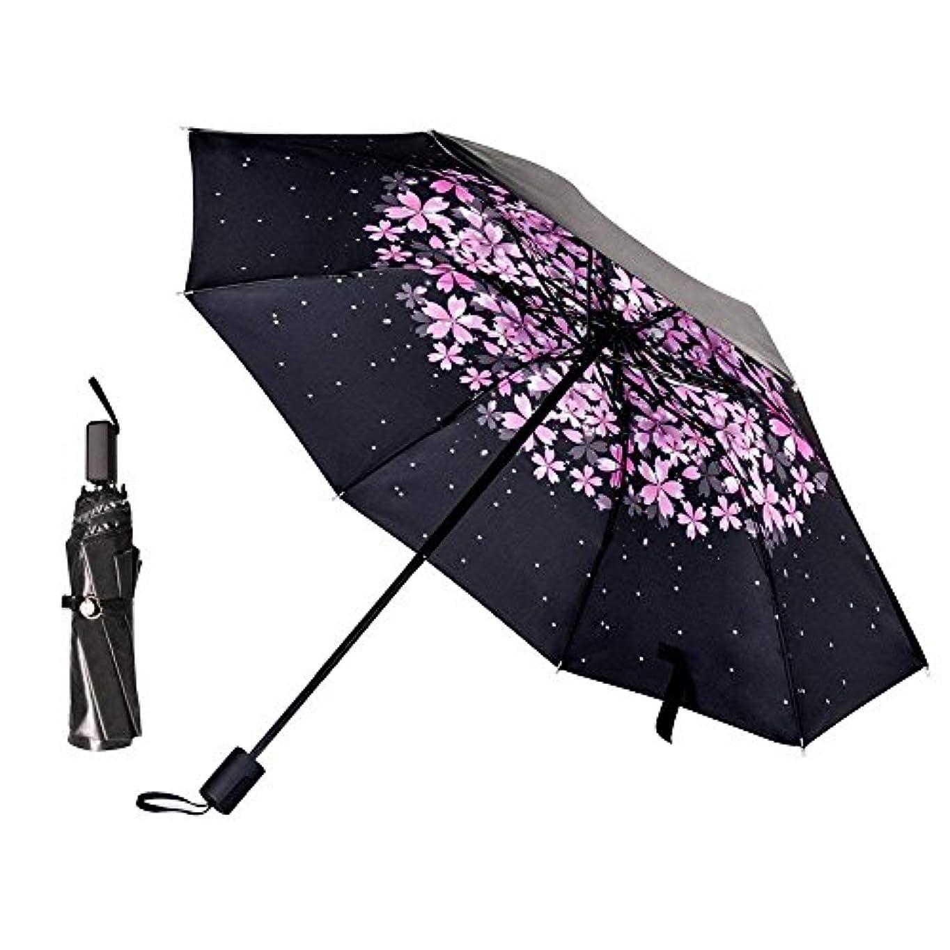 トロリー受粉するダメージ折りたたみ傘 花柄 日傘 日傘 レディース 折り畳み傘 UVカット 100% 遮光 日傘 晴雨兼用 折りたたみ 大型 ひんやり傘 高密度なポンジー布生地と高品質UVカットコーティングで加工して 折り畳み傘 (花びら)