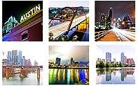 ドリンク用アーティスティックコースター セラミックコースター オースティン・テキサスをテーマにしたコルクコースター6枚セット 表面を保護 サウスオースティン・ギャラリーからのホームデコ写真