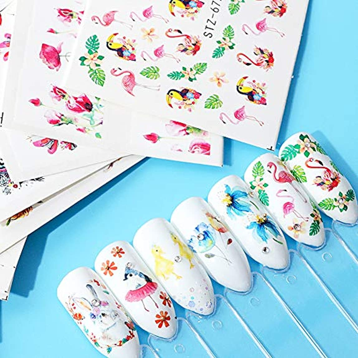 良心やめるペイントSUKTI&XIAO ネイルステッカー 15ピースネイルアート水デカールステッカー熱帯の入れ墨スライダー動物花デザイン装飾マニキュア