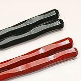 【箸屋さいこ】エコ箸 六角一刀彫り 黒&赤2膳セット
