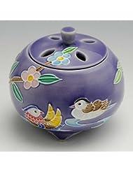 京焼 清水焼 京 焼き 京焼き 香炉 1個 木箱入 交趾おしどり(紫) こうちおしどり(むらさき) YSM134