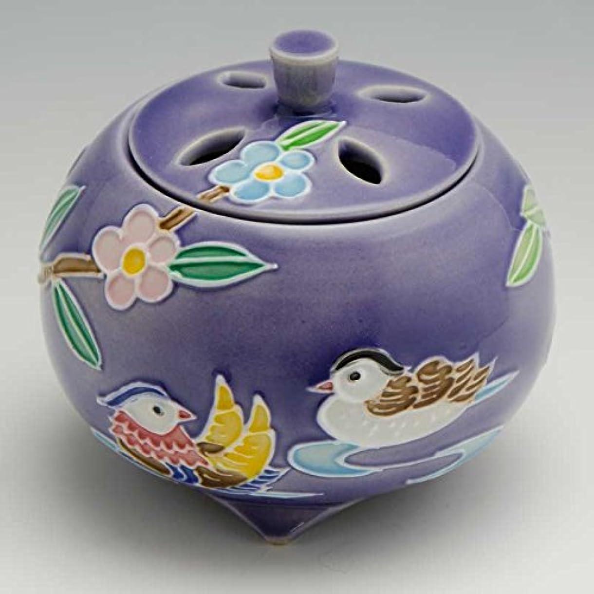 植生島批判的に京焼 清水焼 京 焼き 京焼き 香炉 1個 木箱入 交趾おしどり(紫) こうちおしどり(むらさき) YSM134