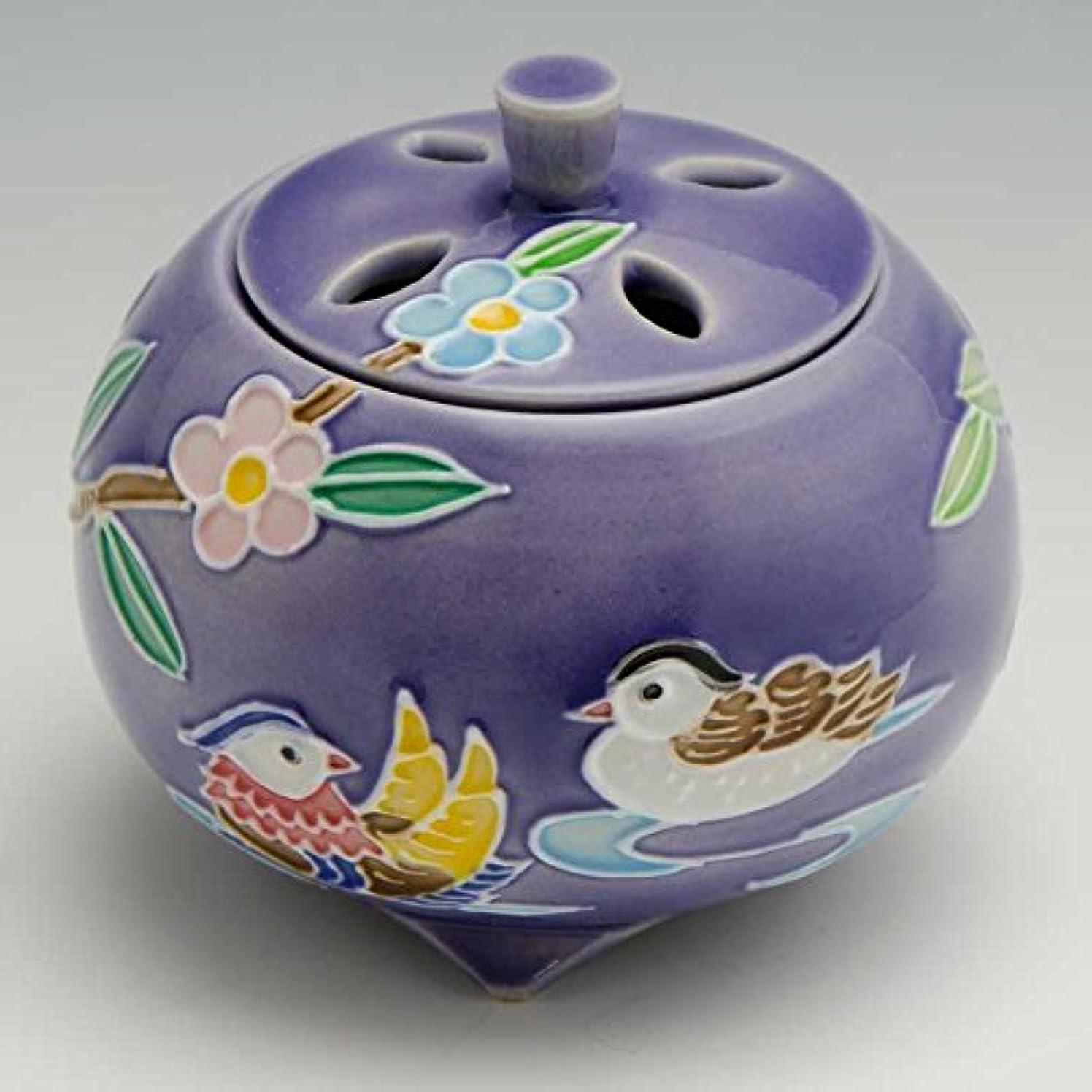 エキスカリング束京焼 清水焼 京 焼き 京焼き 香炉 1個 木箱入 交趾おしどり(紫) こうちおしどり(むらさき) YSM134