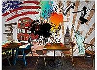 FFYYJJLEI 3D壁紙トレンドストリートアートグラフィティヒップホップバー壁画背景Wall-140x70cm