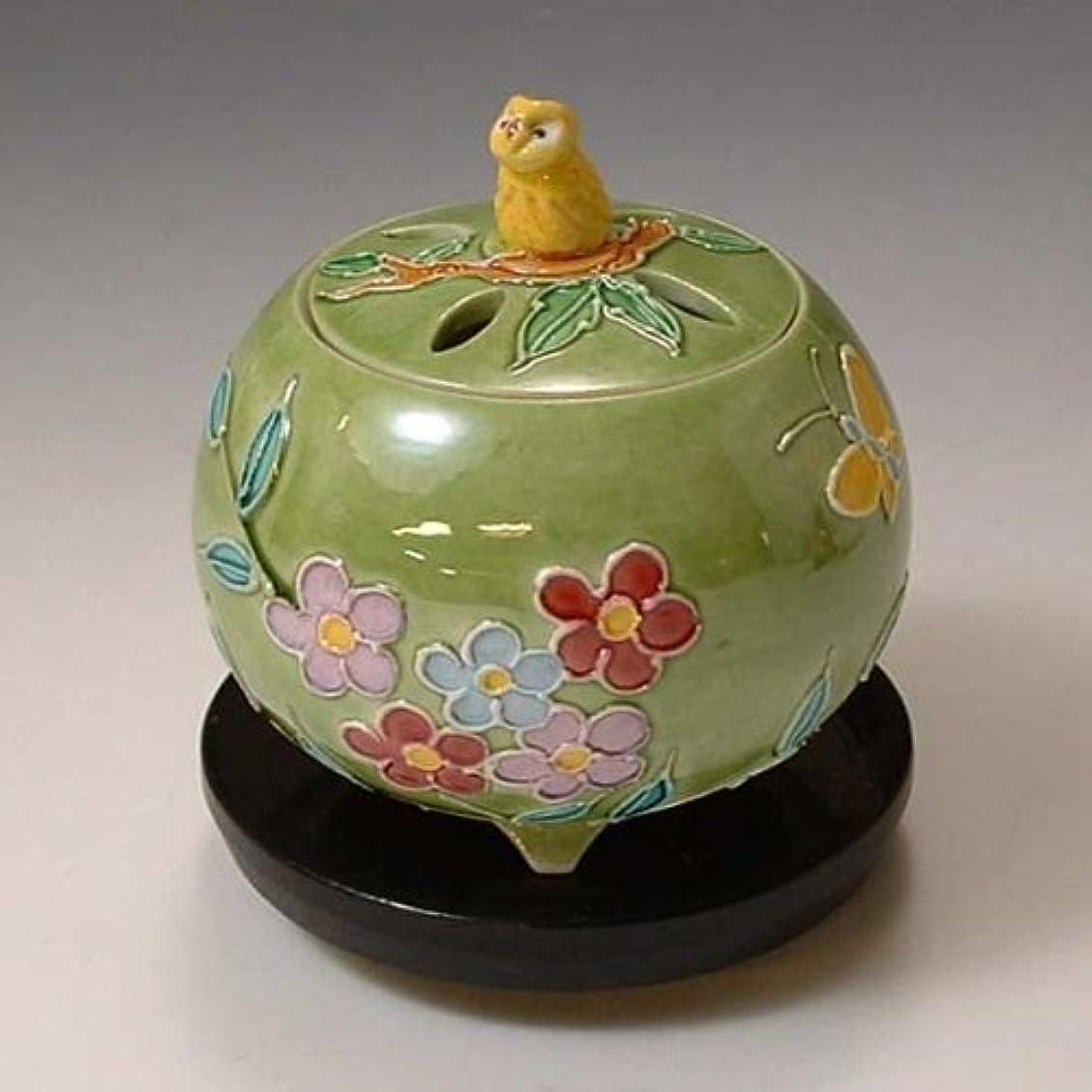 開いた葉巻色合い京焼 清水焼 香炉(黒台付) 黄ふくろう きふくろう YSK082