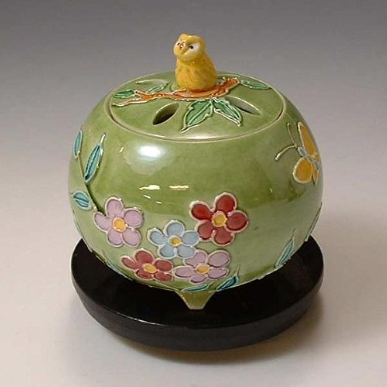 京焼 清水焼 香炉(黒台付) 黄ふくろう きふくろう YSK082