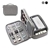 BOONA 2層電子機器オーガナイザー 旅行用電子機器アクセサリーストレージバッグ ケーブル、USBフラッシュドライブ、プラグなどに iPadミニに完璧にフィット S グレー