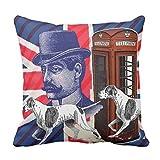 クッションカバー 45×45cm ファスナー式 おしゃれ インテリア ソファー オフィス モダンなイギリスの旗の英国国旗の英語は犬を捜します