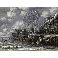 Thomas Heeremans Winter Scene Horses Painting Large XL Wall Art Canvas Print 冬シーンうまペインティング壁