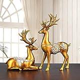Jhcpca 創造的なヨーロッパのホームデコレーション/ギフトホームデコレーション/カップルのエルクの装飾 (Color : 金色)